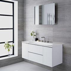 Mueble de Lavabo Suspendido con Acabado Color Blanco Lacado de 1200x480x520mm con Lavabo Integrado - Ranwick