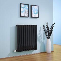 Radiador de Diseño Eléctrico Horizontal - Negro Lúcido - 635mm x 595mm x 55mm - Elemento Termostático de 600W - Revive