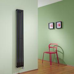 Radiador de Diseño Eléctrico Vertical - Negro Lúcido - 1600mm x 236mm x 56mm - Elemento Termostático de 800W - Revive