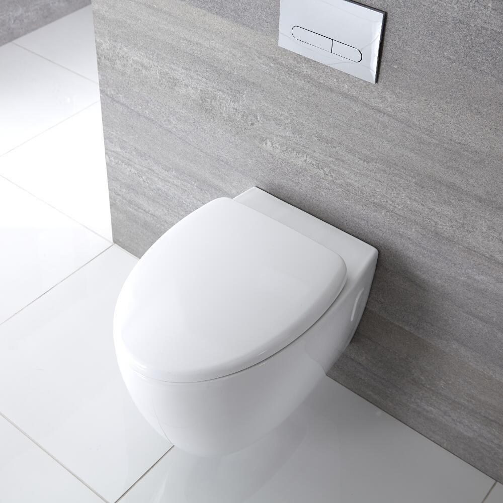 Inodoro WC Oval Moderno Suspendido Sin Brida 360x385x580mm
