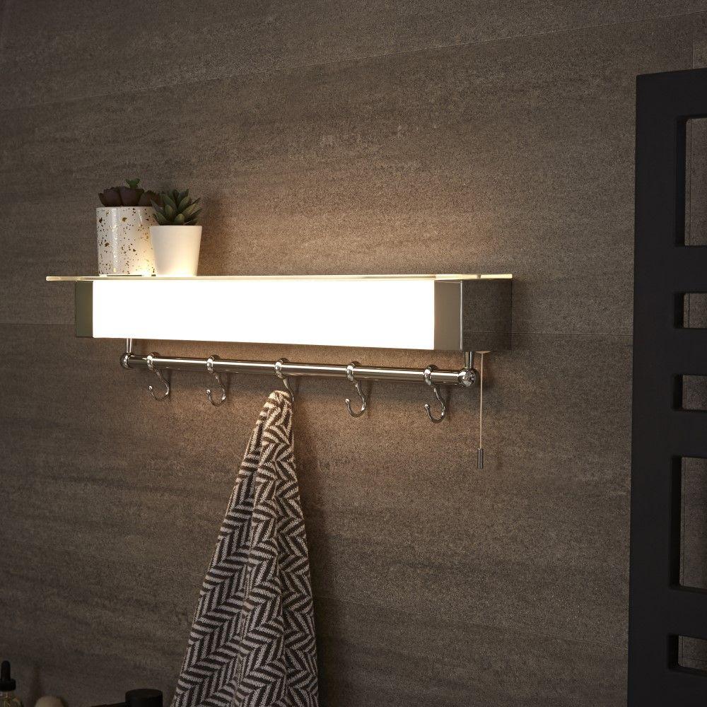 Luminaria LED con Repisa y Porta Toallas para Cuarto de ...