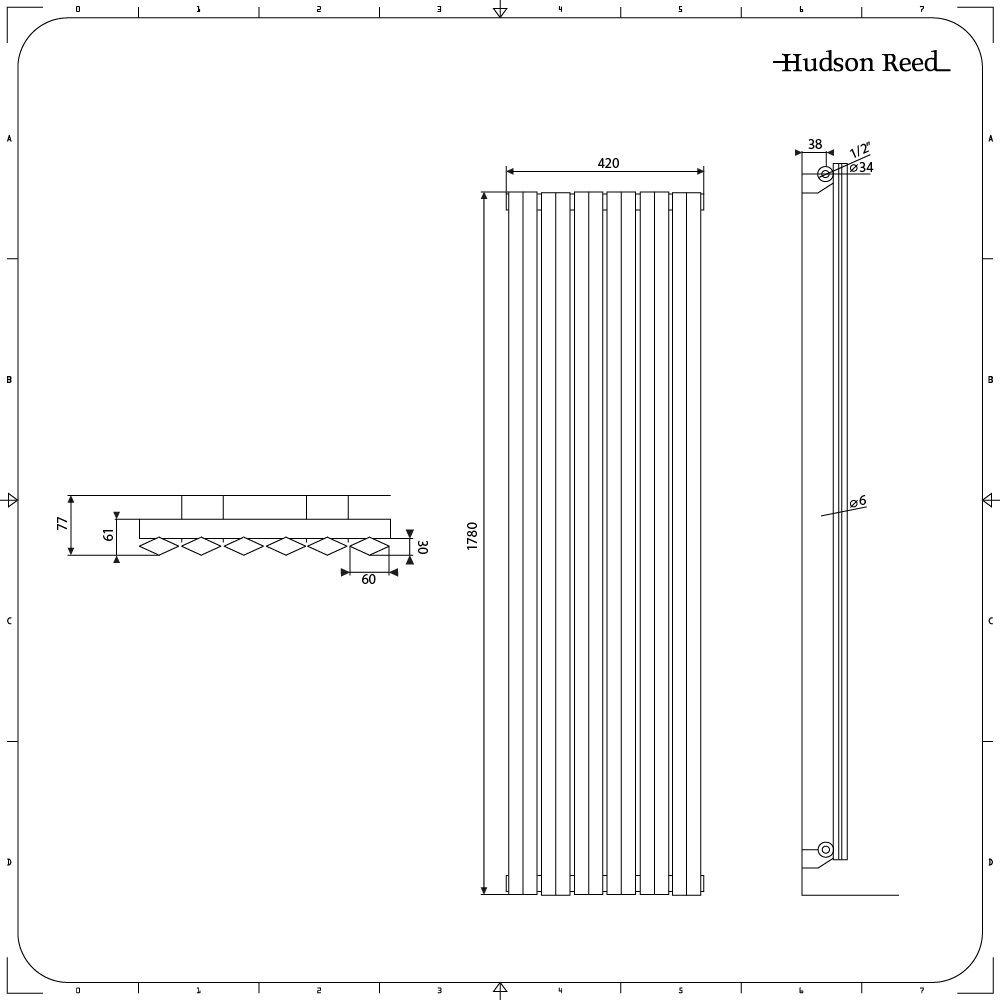 1780mm x 280mm x 86mm Antracita 1079 Vatios Rombo Hudson Reed Radiador de Dise/ño Vertical Doble