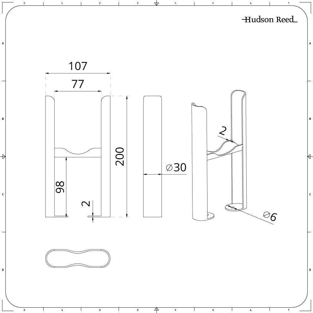 Acero Conjunto de Soporte Pies Montaje a Suelo para Radiadores Blancos Tradicionales de 2 Columnas Hudson Reed