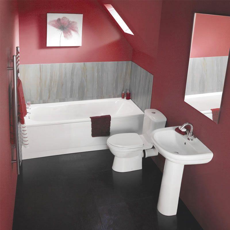 Conjunto de Cuarto de Baño Moderno Completo con Bañera, Lavabo y WC