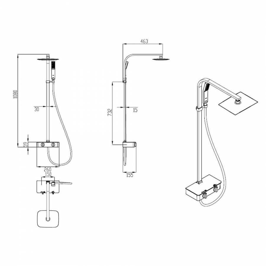Columna de ducha completa con mezclador termost tico de for Mezclador agua para ducha