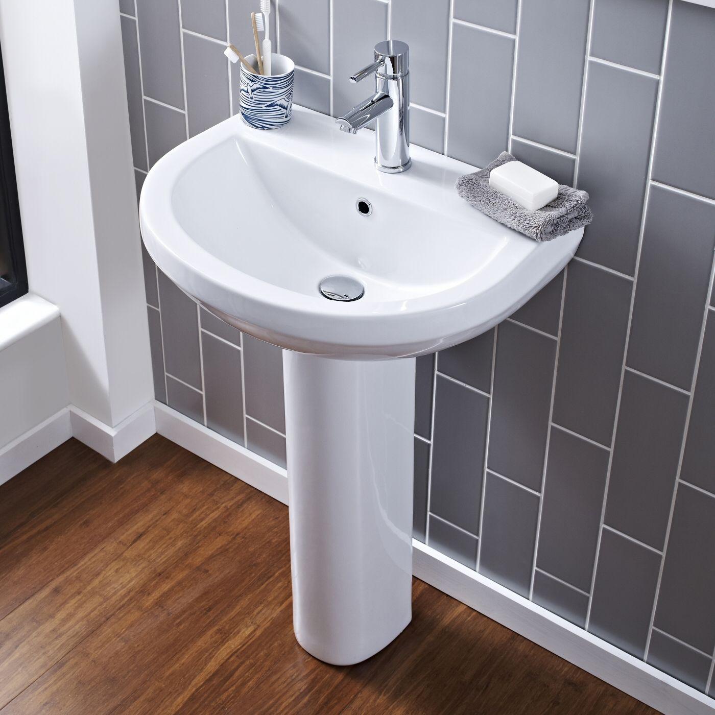 Lavabo y pedestal en cer mica en estilo moderno 550mm - Lavabos de bano modernos ...