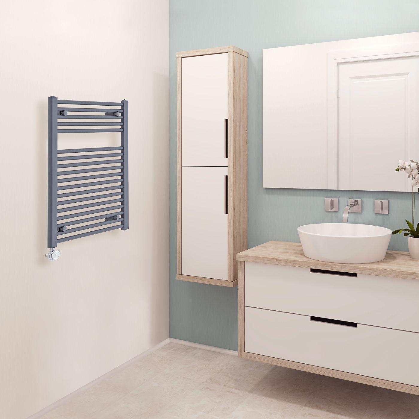Radiador toallero el ctrico plano antracita 800mm x - Radiador electrico bano ...