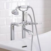Conjunto de Baño con Grifo Mezclador de Bañera y Ducha de Mano Estilo Retro