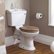 Inodoro WC Tradicional  Completo con Cisterna de Salida Horizontal y Tapa de Color Madera - Ryther