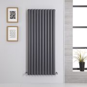 Radiador de Diseño Vertical Doble - Antracita - 1400mm x 590mm x 78mm - 1740 Vatios - Revive