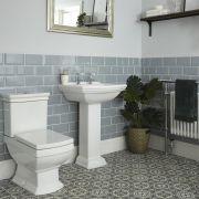 Conjunto Tradicional Cuadrado Blanco para Cuarto de Baño Completo con Lavabo para Grifería de 2 Agujeros, Pedestal, Inodoro y Cisterna de Cerámica - Chester
