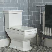 Conjunto Tradicional  Monobloque Mural Cuadrado Blanco para Cuarto de Baño Completo con Inodoro de Cerámica, Cisterna, Tapa y Accesorios  - Chester