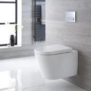 Inodoro WC Oval Suspendido 365x350x565mm con Tapa de WC Soft Close - Exton