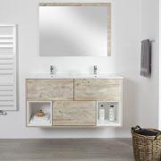 Mueble de Lavabo Mural de 1200mm Color Roble Claro con Diseño Abierto con Lavabo Doble - Hoxton