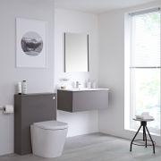 Mueble de Baño de 800mm Color Gris Opaco con Inodoro y Lavabo Disponible con Opción LED - Newington