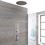 Panel de Ducha Empotrable Hidromasaje Minimalista Cromo Cepillado con Alcachofa de Ducha de Techo Empotrable de 400mm - Voco