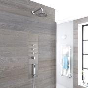 Panel de Ducha Empotrable Hidromasaje Minimalista Cromo Cepillado con Alcachofa de Ducha Fija de 200mm con Brazo de Ducha Mural  - Voco
