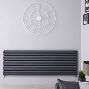 Radiador de Diseño Horizontal Doble - Antracita - 590mm x 1600mm x 78mm - 1881 Vatios - Revive