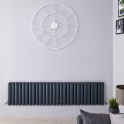 Radiador de Diseño Horizontal Doble - Antracita - 400mm x 1647mm x 78mm -1733 Vatios – Revive