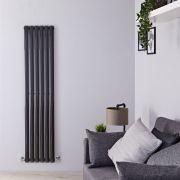 Radiador de Diseño Vertical - Negro Lúcido - 1600mm x 354mm x 56mm - 841 Vatios - Revive