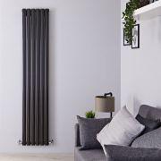 Radiador de Diseño Vertical Doble - Negro Lúcido - 1600mm x 354mm x 56mm - 1228 Vatios - Revive