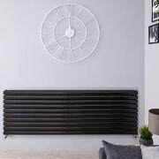 Radiador de Diseño Horizontal Doble - Negro Lúcido - 590mm x 1600mm x 78mm - 1881 Vatios - Revive