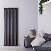 Radiador de Diseño Vertical - Negro Lúcido - 1600mm x 590mm x 55mm - 1402 Vatios - Revive
