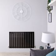 Radiador de Diseño Horizontal - Negro Lúcido - 635mm x 980mm x 46mm - 876 Vatios - Delta