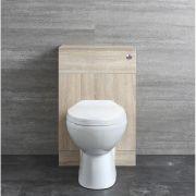 Mueble de WC Completo con Inodoro Adosado, Cisterna y Tapa de 500mm - Classic Oak