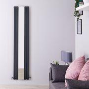 Radiador de Diseño Vertical Doble con Espejo- Antracita - 1800mm x 381mm x 130mm - 1682 Vatios - Sloane