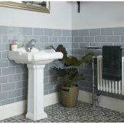 Lavabo Monoforo con Pedestal Tradicional Realizado de Cerámica Blanca - Oxford