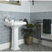Lavabo de 2 Agujeros y Pedestal Blanco Clásico Realizado de Cerámica Blanca - Oxford