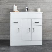 Mueble de Lavabo Blanco de Suelo de 810mm Completo con Lavabo -  Geo