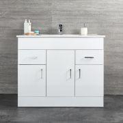 Mueble de Lavabo Blanco de Suelo de 1010mm Completo con Lavabo – Geo