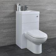 Conjunto de Baño Blanco Completo con Inodoro de Cerámica y Lavabo de Resina