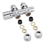 """Llaves Rectas Cromadas para Radiador y Toallero de 3/4"""" con  Cabezal Cromado y Adaptadores para Tubos de Cobre 15mm - Multiblock H"""