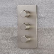 Mezclador de Ducha Termostático Triple de 3 Funciones con Desviador Moderno de Color Níquel Cepillado - Harting
