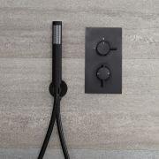 Llave de Ducha Termostática Empotrable de 1 Función Negra con Telefonillo - Nox