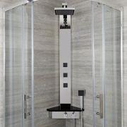 Panel de Ducha Angular Cromado con Mezclador Termostático Expuesto - Alcove