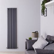 Radiador de Diseño Vertical Doble - Antracita - 1780mm x 420mm x 86mm - 1618 Vatios - Rombo