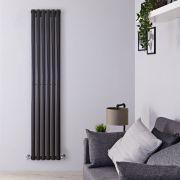 Radiador de Diseño Vertical - Negro Lúcido - 1780mm x 354mm x 56mm - 892 Vatios - Revive
