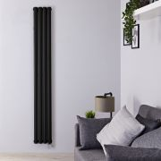 Radiador de Diseño Eléctrico Vertical Doble - Negro Mate - 1780mm x 236mm x 78mm - 1 Elemento de 1200W - Revive