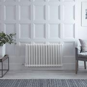 Radiador de Diseño Eléctrico - Horizontal Doble Tradicional - Blanco - 600mm x 1010mm - Elemento Eléctrico de 1000W - Windsor