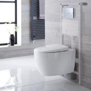 Inodoro Moderno Oval Suspendido Completo con Estructura Empotrable, Cisterna, Placa de Descarga y Tapa WC,  – Kenton