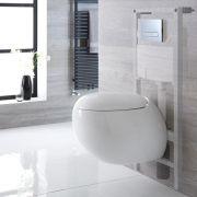 Inodoro Oval Suspendido 420x350x590mm con Tapa Soft Close, Estructura Empotrable, Cisterna y Placa de Descarga - Langtree
