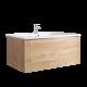 Mueble de Baño de 800mm Color Roble Dorado Completo con Cisterna, Inodoro con Lavabo, Armario de Pared y Espejo  - Newington