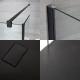 Mampara para Ducha de Obra de 1400x800mm con Pared de Ducha, Perfilería Negra y Plato de Ducha Color Antracita