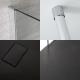 Mampara para Ducha de Obra con Hoja Fija de1400x800mm con Barra de Soporte a Techo y Plato de Ducha Color Antracita