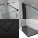 Mampara para Ducha de Obra de 1700x900mm con 2 Hojas de Vidrio Fijas, Plato de Ducha de Color Antracita y Perfilería Negra