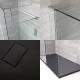 Mampara para Ducha de Obra de 1700x900mm con 2 Hojas de Vidrio Fijas y Plato de Ducha de Color Antracita